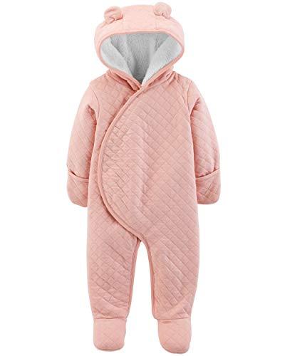 Carter's 0-9 Months Quilted Knit Hooded Pram (Peach, Newborn) -