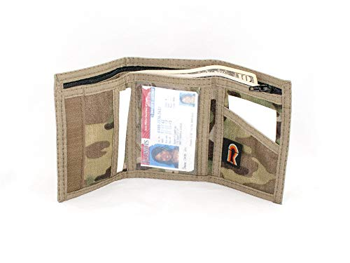 Military Camouflage Trifold ID Wallet. Outside & Inside ID Hook n Loop. USA Made (Multi-Cam)