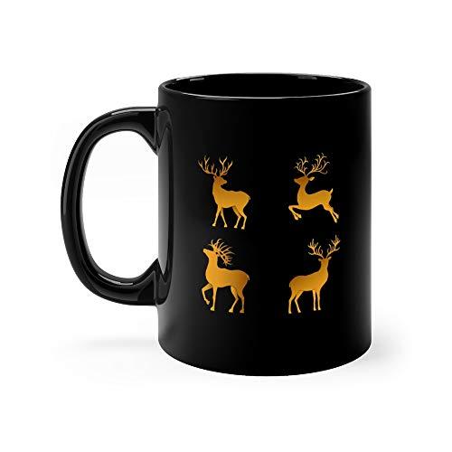 Gold Christmas Deer Silhouettes Isolated On The Black Hop Head Coffee Mug Ceramic 11oz Cups