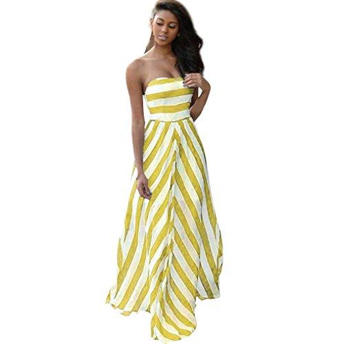 Women Long Dress Daoroka Vintage Summer Off Shoulder Striped Bohemian Beach Maxi Sundress Party Fashion Skirt (S, Yellow)