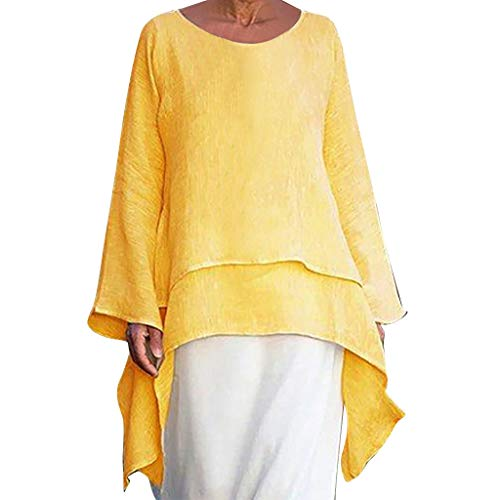 Irregular Hem Shirt t Women Fashion Plus Size Casual Linen Top Long Sleeve Crew Neck Blouse Yellow