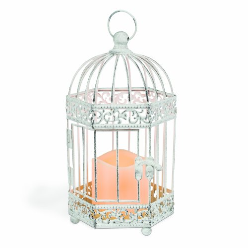 Gerson 9-Inch Antique Style Distressed White Metal Birdcage Lantern with 3 by 3-Inch Indoor/Outdoor LED Candle