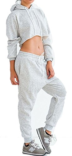 WorkTd Women's Crop Top Hoodie Pant 2 Pcs Sweatsuit Set Sports Outfit Grey M by WorkTd (Image #1)