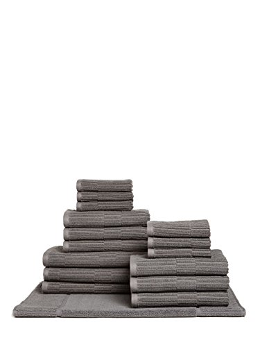 Chortex Oxford %100 Turkish Cotton Towel Set, 16 Pcs (6 Washcloths, 6 Hand Towels, 3 Bath Towels, 1 Bath Mat) (Dark Slate) by Chortex of England