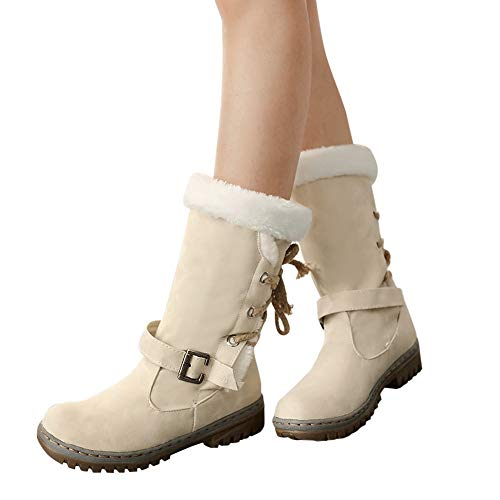 Sneakers Neige Chaussure Boots Ceinture Femme À Lacets Sport Bottes Bottines De Hiver Boucles Fourrée Mode Zezkt Beige Intérieur Basket Rxq7ZZ