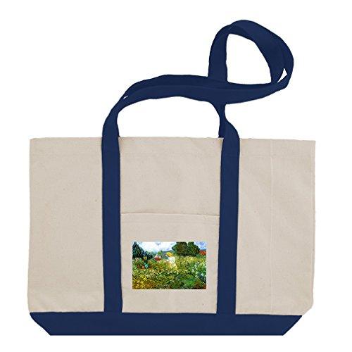 - Marguerite Gachet Garden #2 (Van Gogh) Cotton Canvas Boat Tote Bag - Royal Blue