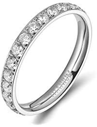 Womens Titanium Eternity Rings Cubic Zirconia Wedding Engagement Band