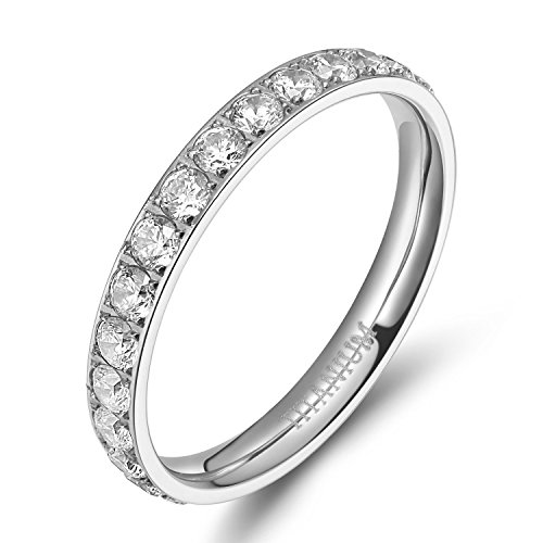 TIGRADE 3mm Women Polished Silver Eternity Titanium Rings Round Shiny Cz Cubic Zirconia Inlaid Wedding Engagement Finger Bands Size 4 to 9 (9) ()