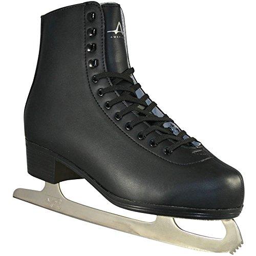 American Athletic Shoe Men's Leather Lined Figure Skates, Black, 9