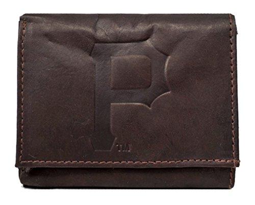 Pittsburgh Pirates MLB Embossed Logo Dark Brown Leather Trifold - Embossed Leather Pirates Pittsburgh