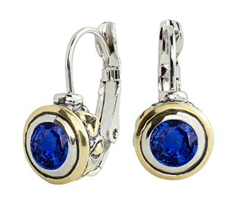 John Medeiros 6MM Sapphire Blue Cubic-Zirconia Bezel Setting Dangle Earrings Mothers Day Made in America