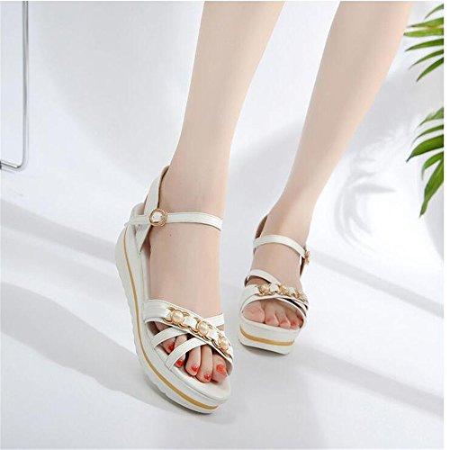 Slip sandalias mujer sandalias de confort de diamante Blanco