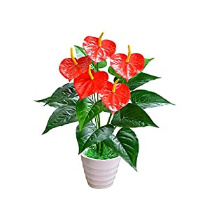 ZJJZH Artificial Decorative Flowers Simulation Green Plant anthurium Fake Flower Living Room Decoration Green Plant Landing Fake Flower Pot Planting Potted Bonsai Artificial Flowers. 26