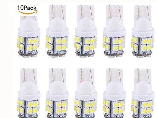 T10 Wedge W5W 194 168 LED Light Bulb 12V T10 3528 20 SMD White Car Lights Bulb for Car Side Wedge Interior License Plate Light (10PCS T10 white LED Bulb) ()
