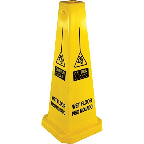 Genuine Joe Bright Four-Sided Caution Safety Cone (Safety Signs And Symbols In Science Lab)
