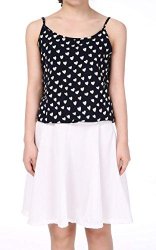 Zeagoo Stylish Women Casual Sleeveless O-Neck Heart Pattern Spaghetti Strap Two-Piece Set Dress