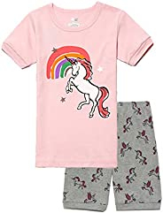 Kasqo Girls Pajamas Sets, Cotton Summer Sleepwear Short Sets Toddler Kids 2 Piece Children Clothes Snug Fit (U