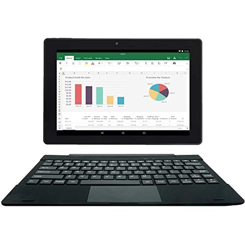 [2 Bonus Item] Simbans TangoTab 10 Inch Tablet + Keyboard 2-in-1 Laptop | 2GB RAM, 32GB Disk, Android 8.1 Oreo | GPS, WiFi, USB, HDMI, Bluetooth | IPS Screen, 2+5 MP Camera Computer PC (Tablet Word Processor)