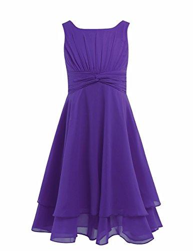 FEESHOW Kids Big Girls Sleeveless Double Chiffon Layers Wedding Bridesmaid Party Flower Girl Dress Purple 10