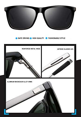 wearPro Sunglasses Mens Retro Vintage Polarized Sun Glasses WP1003 (black, 2.16)
