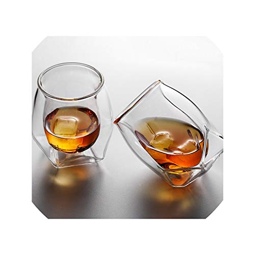 (England Whiskey Rock Glass RUM Wine Cups Chivas Regal Whisky Brandy Snifter Double Glazed Tumbler Der Whisky Becher,2 Pcs Glass Set,180ml)