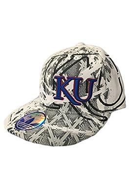 adidas - Kansas Jayhawks White Graphic Fitted Flex Hat Cap - S/M