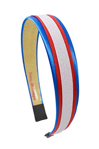 Football Team Fan Glitter and Grosgrain Arch Headband Buffalo Colors Nautical Blue Red and White (10 Great Playoff Games)