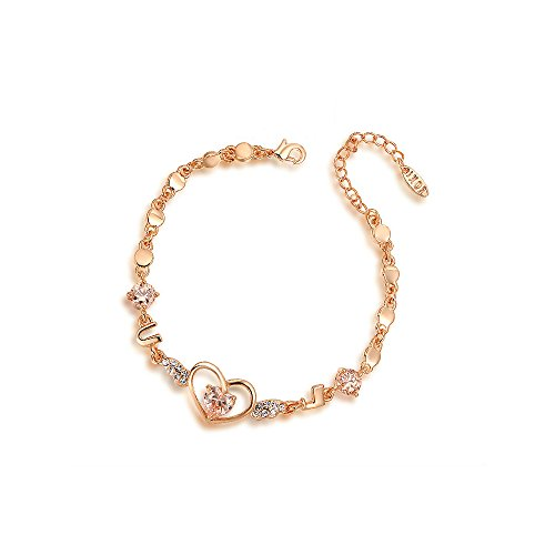 Gold Vermeil Heart Link - Deezire Jewels Heart and Diamond Charm Link Bracelet Rose Gold Vermeil by Fashion Jewelry For Women