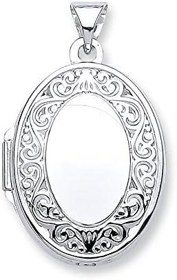 Genuine White Gold Oval Shape Locket Pendant with edge design 28mm Brand New
