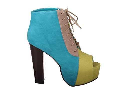 Peep Multi Su High Blue Platform Bootie Toe up Heel Lace rFw7Aqr8