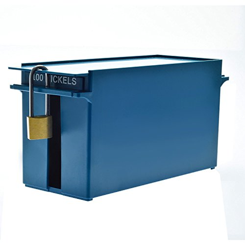 Box No Coins - Nadex High Capacity Rolled Coin Storage Box for Nickels | 100 Dollar Capacity, Lockable Blue Nickels Deep Tray