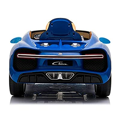 Licensed Bugatti Chiron 12V Electric Ride On Car with Remote Control for Kids, MP3 and FM, 35W Motors, Rear Trunk, Leather Seat, Matrix LED Headlight and Openable Doors, Blue: Home & Kitchen