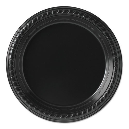 SCCPS75E Party Plastic Plates, 7 1/4in, Black, 25/Pack by SCCPS75E