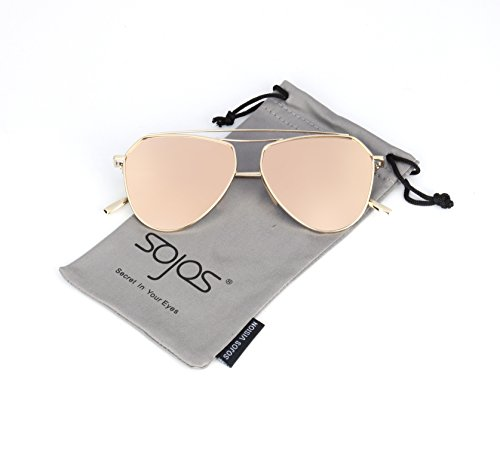 SojoS Classic Metal Double Bridge Aviator Style Flash Mirror Lenses Sunglasses SJ1040 With Gold Frame/Pink Lens - Classic Metal Aviator Sunglasses