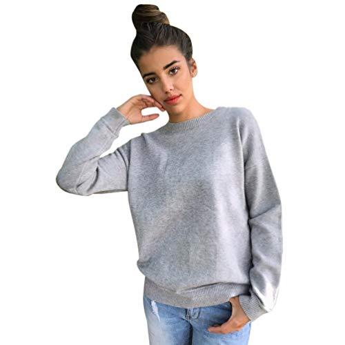 Trendinao Women O-Neck Long Sleeve Sweatshirt Pullover Tops Blouse Shirt (Grey,Medium)