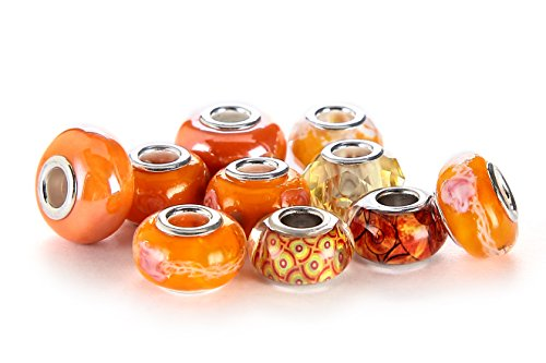 BRCbeads 10Pcs Mix Silver Plate ORANGE THEME Murano Lampwork European Glass Crystal Charms Beads Spacers Fit Troll Chamilia Carlo Biagi Zable Snake Chain Charm Bracelets. -