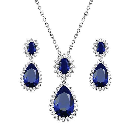 (Lavencious Teardrop Dangle Jewelry Set Necklace & Earrings Trendy AAA Cubic Zirconia for Women (Blue))