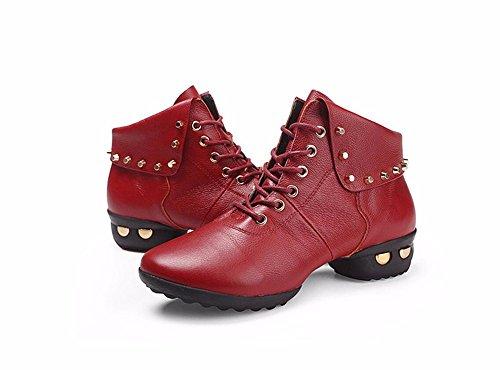 SQIAO-X- Scarpe da ballo di gomma di cotone la piattina di messa a terra piatta con pelle, Adulti danza latino Square Dance Professional scarpe da ballo, rosso scarpe singolo 40