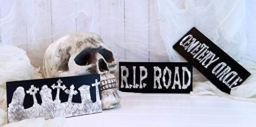 Halloween Cemetery Set Cemetery Sign Tombstone Graveyard Sign Rip Sign Halloween Decor Halloween Craft Supplies Funny Quote Plaque Home Craft Sign for Women Men]()