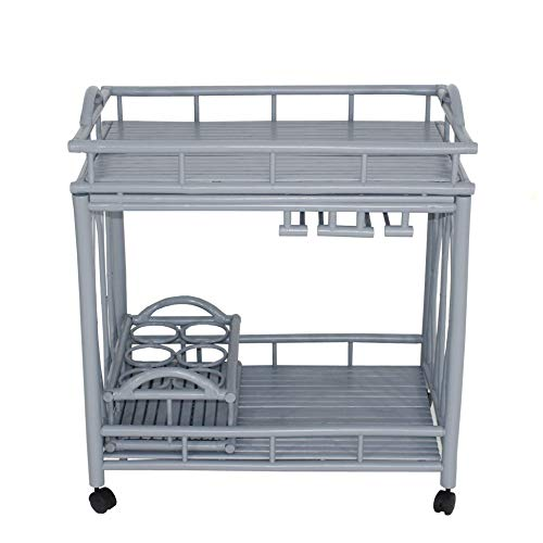 Statra L327S Bamboo Rolling Wine Serving Cart Grey