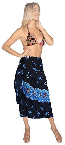 La Leela las mujeres lisas suaves likre pareo cráneo del pirata del bikini falda más envuelven Halloween sarong pareo encubrir envoltura de 88x39 pulgadas Azul Marino