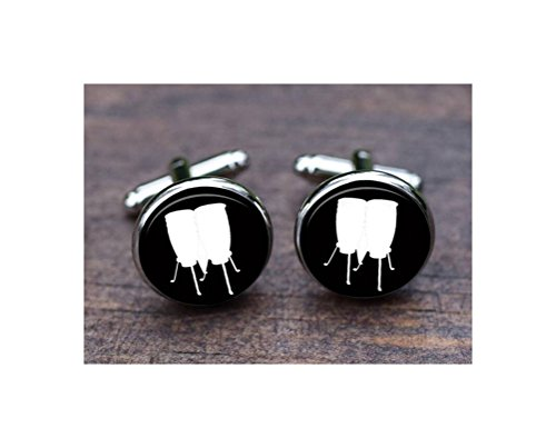 Drums Cufflinks, Low Conga Cufflinks, Musical Instrument, Black and White, Music Band Instrument Men Wedding Gift, Jewellery