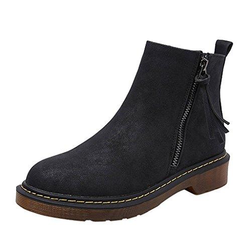 Dear Time Women Side Zipper Low Heel Ankle Boots Black 7hL9Fbb