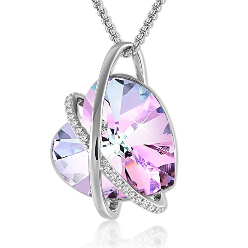 GEORGE · SMITH ♥Guide of Love♥ 14K White Gold Necklace Purple Love Heart Necklace with Crystals from Swarovski, Birthday Gifts for Women Girls Girlfriend