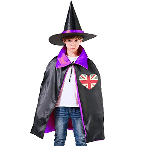 Kids Love London UK Heart Flag Halloween Party Costumes Wizard Hat Cape Cloak Pointed Cap Grils Boys ()