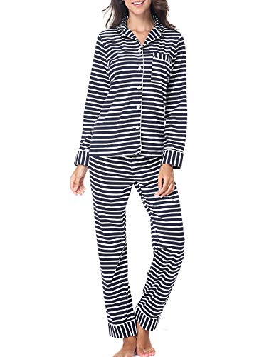 RIKILIO Womens Cotton PJs Long Sleeve Striped Pajama Set Sleepwear(Dark Blue Strip,XL) (Women Navy Striped Pj)