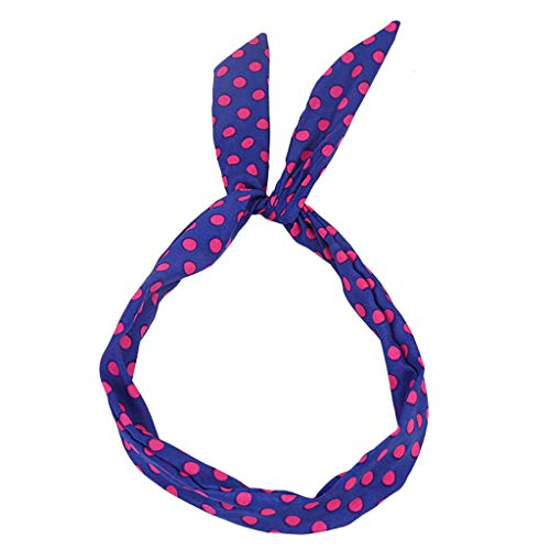 (UROSA Paisley Wired Headband Polka Dot Tartan Retro Scarf Wire Hair Band Headwear)