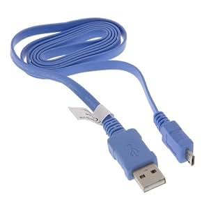 Cable de datos USB con función de carga Cable plano Color azul claro 0,95m para Vodafone 360H1360M1360