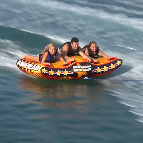 (Airhead Rock Star 3 Person Inflatable U Shape Sport Boating Towable (2 Pack))