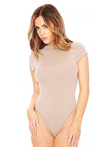 Marrone Maniche Elegante Slim Donna A Corte Bodycon Corta Manica Fit Aderente Young17 Pagliaccetto Bodysuit SqCwgC